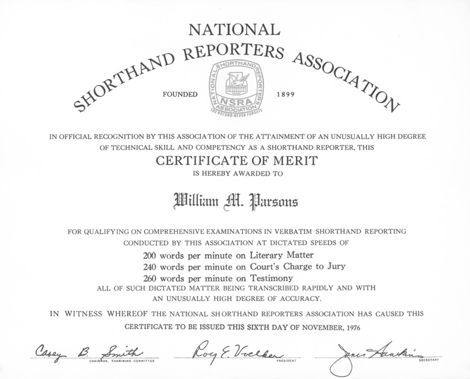 National Court Reporters Association Certificate of Merit